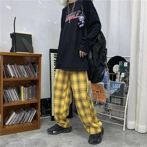 ワイドパンツ チェック イージーパンツ ボトムス ワイドレッグパンツ パンツ レディース メンズ M L 原宿系 イエロー 黄色
