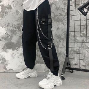 ジョガーパンツ テーパードパンツ チェーン ストリート カーゴパンツ ワークパンツ メンズ レディース M L XL 黒 ブラック