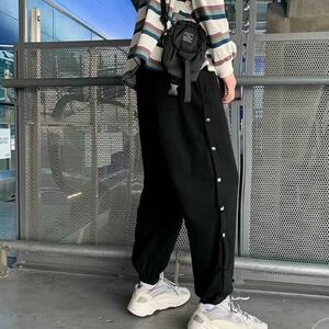 ジョガーパンツ テーパードパンツ サイドボタン ボトムス パンツ メンズ レディース L 原宿系 ストリート 黒 ブラック