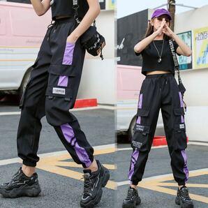 カーゴパンツ ジョガーパンツ ラインパンツ ボトムス ワークパンツ テーパードパンツ 原宿系 レディース メンズ M L 黒 紫