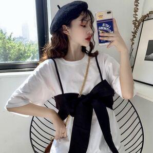 Tシャツ リボン ビスチェ セット ビッグシルエット トップス 韓国 オルチャン 白 ホワイト 黒 ブラック 2点 XL XXL