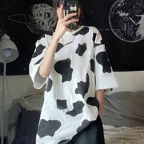 Tシャツ ビッグシルエット 半袖 トップス カウ柄 レディース メンズ L XL 原宿系 韓国系 オルチャン シャツ 白 ホワイト