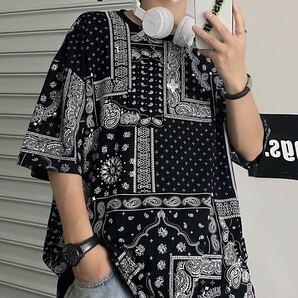 Tシャツ ビッグシルエット 半袖 ペイズリー柄 トップス シャツ メンズ レディース 原宿系 ストリート 黒 ブラック おしゃれ L