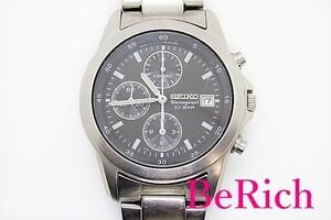 セイコー SEIKO クロノグラフ メンズ 腕時計 デイト 7T92-0DM0 黒 ブラック 文字盤 SS ブレス アナログ クォーツ【中古】ht3318