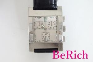 グッチ GUCCI クロノグラフ メンズ 腕時計 7700 デイト スクエア シルバー 文字盤 SS レザー ブレス アナログ クォーツ【中古】bt2167