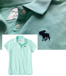 【既決usa】アバクロ ★ Abercrombie@完売胸元刺繍【Moose】ロゴ入半袖ポロシャツ【A&F Moose Logo Icon Polo】 Light Green @XS