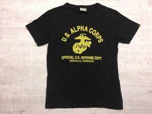 アルファ ALPHA ミリタリー ロゴプリント 半袖Tシャツ メンズ 綿100% M 黒