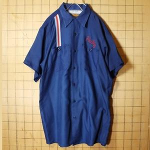 70s 80s USA製 RED KAP レッドキャップ チェーンステッチ ワーク シャツ ネイビー メンズM 半袖 ライン アメリカ古着