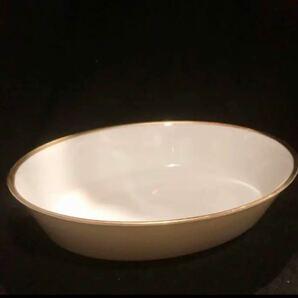 ノリタケ noritake オーバル皿 深皿 楕円形 大 大皿白に縁には金箔 ゴールド
