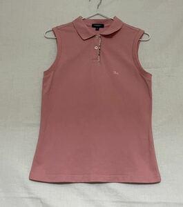 バーバリー ロンドン ノースリーブポロシャツ くすみピンク S ノバチェック