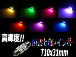 ゆっくり変化!RGB七色レインボーSMDLED T10×31mm ルーム球 F