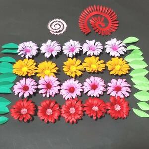 オーダーメイドOK !!◎レメリア shop◎ 夏花飾り 4色 20個 紙花デコパーツ ペーパーフラワー