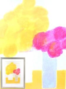 ベルナール・カトラン/「黄色いテーブルの上のインドバラとアジサイ」/リトグラフ/EA 版/花瓶/額装品/直筆サイン入り/作家物/美術品