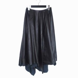 未使用品 マルニ MARNI 19AW アシンメトリー ラムレザー スカート ひざ丈 40 ブラック 黒 GOMX0136UY 国内正規 レディース