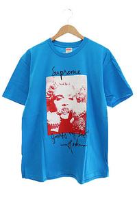 シュプリーム SUPREME 18AW Madonna Tee マドンナ ロゴ プリント 半袖 Tシャツ M Bright Blue ブライトブルー 青 ☆AA★■