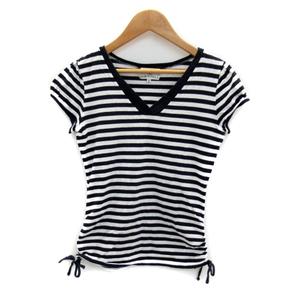 クミキョク 組曲 KUMIKYOKU Tシャツ カットソー 半袖 Vネック ボーダー柄 2 紺 ネイビー 白 ホワイト /SY16 レディース