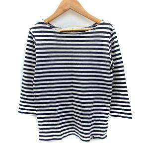 クミキョク 組曲 KUMIKYOKU Tシャツ カットソー 七分袖 ボートネック ボーダー柄 2 紺 ネイビー 白 ホワイト /SM49 レディース
