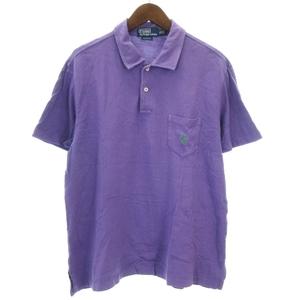 ポロ バイ ラルフローレン Polo by Ralph Lauren CUSTOM FIT ポロシャツ 半袖 ロゴ刺繍 鹿の子 パープル 紫 XL ECR6 メンズ