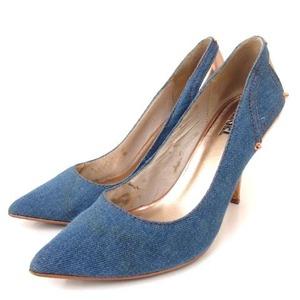 ディーゼル DIESEL パンプス ポインテッドトゥ ピンヒール デニム 切替 エナメル メタリック 青 ピンクゴールド 36 23cm相当 靴 シューズ