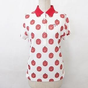 キャロウェイ CALLAWAY ポロシャツ ゴルフ 半袖 シャツカラー ロゴ ストレッチ トマト柄 白 赤 ホワイト レッド L