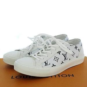 ルイヴィトン LOUIS VUITTON 美品 2021SS 新作 今季 1A8KHO タトゥーライン スニーカー モノグラム RU PVC 白 8 26.5cm シューズ 靴 メンズ