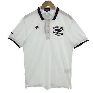 未使用品 パーリーゲイツ PEARLY GATES ポロシャツ 半袖 ロゴ刺繍 ゴルフ ホワイト 白 ネイビー 紺 レッド 赤 6 メンズ
