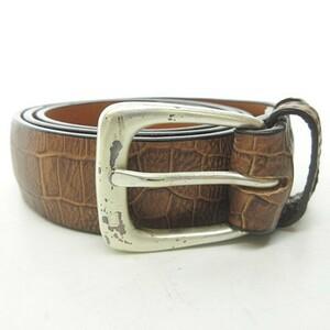 未使用品 オールドジョー OLDJOE 19AW handsome belt クロコ型押し レザー ベルト 茶 ブラウン シルバー 28 0724 メンズ