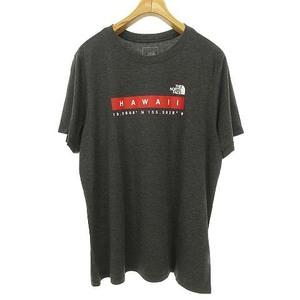 未使用品 ザノースフェイス THE NORTH FACE W SS HAWAII TEE ロゴ プリント ハワイ限定 Tシャツ カットソー 半袖 XL チャコールグレー