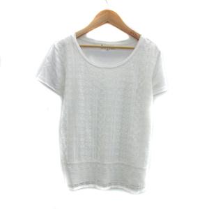 クミキョク 組曲 KUMIKYOKU Tシャツ カットソー 半袖 ラウンドネック 無地 総柄レース 3 白 ホワイト /YS35 レディース