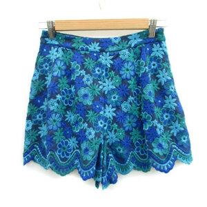 スマッキーグラム SmackyGlam キュロット 短パン ショート 刺繍 花柄 4 マルチカラー ブルー 青 /MS14 レディース