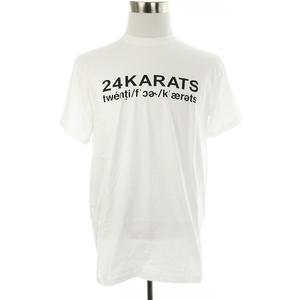 未使用品 トゥエンティフォーカラッツ 24karats Tシャツ カットソー 半袖 クルーネック 薄手 コットン ロゴ プリント M 白 トップス メンズ