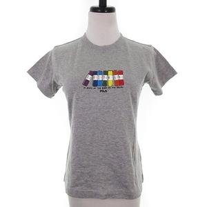 未使用品 フィラ FILA Tシャツ カットソー 半袖 クルーネック 薄手 コットン プリント M グレー トップス /MO レディース