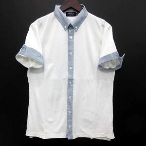エポカ ウォモ EPOCA UOMO 鹿の子 クレリック ボタンダウン シャツ 半袖 ストライプ カノコ ホワイト 白 46 美品 メンズ
