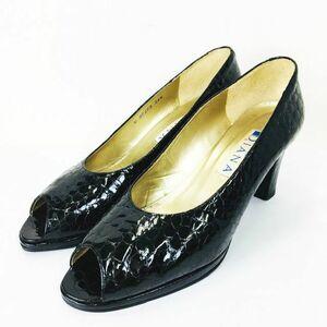 ダイアナ DIANA クロコ柄 エナメル オープントゥ パンプス ハイヒール 靴 黒 ブラック 24 1/2 レディース