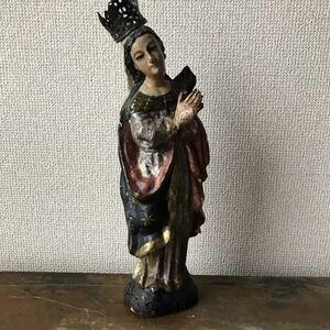 マリア像 骨董 木彫 キリスト アンティーク 英国 フランス オブジェ 店舗什器