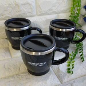 ステンレスマグカップ DECOR MUG  プルーデコールマグ 保冷マグ 保温マグ 黒 M 3個セット