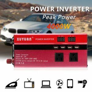 ★売れ筋商品★ ソーラーカーパワーインバーター 瞬間最大4000W 入力DC12V 出力AC110V 車載充電器 LED 4USBポート