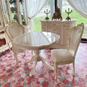 r178m27 優雅で優しい雰囲気のユリの花のモチーフが描かれたイタリア・サルタレッリモビリ社製フローレンスコレクション テーブルセット