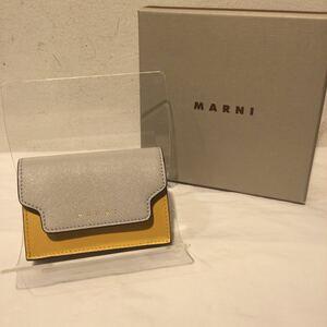 MARNI マルニ 2021 三つ折り財布 ミニ 箱あり ベージュ×イエロー×ライトグレー 510337