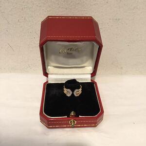Cartier カルティエ リング 指輪 K18 スリーカラー 2Cダイヤ #48 鑑定書付 3連 ゴールド ピンクゴールド シルバー 8号 380874