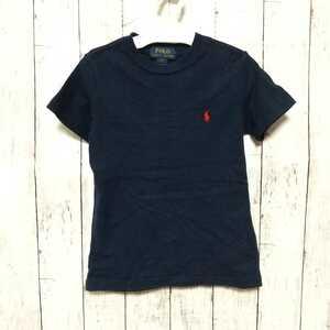 F2358UL◇Polo Ralph Lauren ポロ ラルフローレン◇サイズ5 110~120cm位 半袖Tシャツ ネイビー 紺 キッズ ワンポイント ロゴ 刺繍