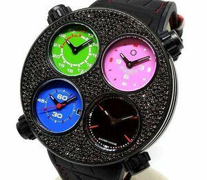 【希少】メカニケヴェローチ クアトロヴァルヴォレ エヴォリューション48 ラグジュアリー ブラックダイヤ自動巻メンズ腕時計ネイマール愛用