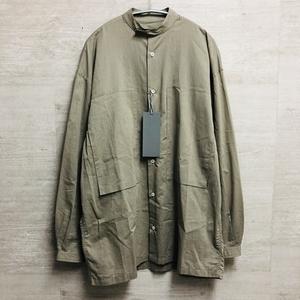 E.TAUTZ イートウツ  COLLARLESS LINEMAN SHIRT バンドカラーシャツ XS ベージュブラウン【中目黒b7】