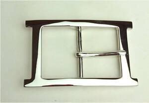バックル 40mm幅用 シルバー色 カジュアルベルト用 Hバックル 定形郵便 送料無料