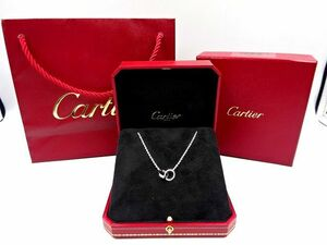 ●Cartier カルティエ ベビーラブネックレス 750 K18WG チェーン リング 紙袋 ジュエリーボックス付き アクセサリー 中古美品●