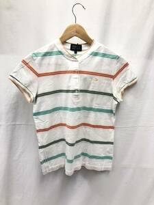 PEARLY GATES 半袖 ハーフボタン Tシャツ ボーダー レディース サイズ1 ホワイト系 パーリーゲイツ SS-831652