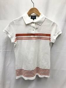 PEARLY GATES 半袖 ポロシャツ レディース サイズ0 ホワイト×オレンジ パーリーゲイツ SS-805666