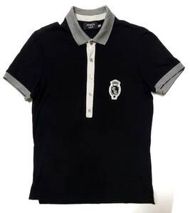 ●EPOCA UOMO エポカ ウォモ / 日本製・鹿の子・ワッペン付き・半袖ポロシャツ・ブラック・サイズ46/USED