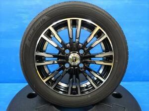 【 中古タイヤ 新品アルミ 4本セット】 ヨコハマ ブルーアース AE-01 155/65R14 14インチアルミ タント ムーヴ N-BOX ワゴンR 軽自動車多数