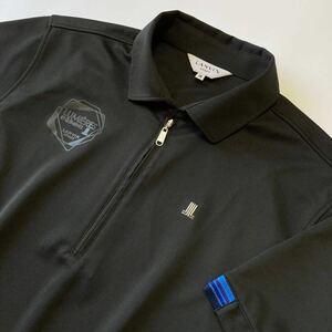 LANVIN SPORT ハーフジップシャツ ポロシャツ/吸汗速乾素材/UVカット/日本製/ランバンスポール/国内正規品/デサント製/ブラック/38